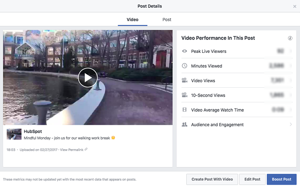 Facebook Live video with analytics sidebar on righthand side