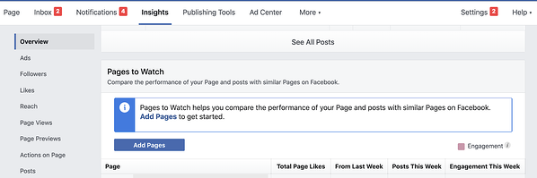 Pages to Watch on Facebook Insights for business pages