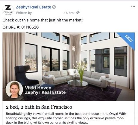 Facebook real estate ad from Zephyr real estate