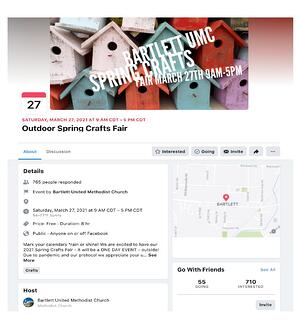 Facebook event in Bartlett, TN for an outdoor spring crafts fair