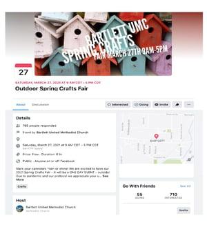 Facebook event in Bartlett, TN for an outdoor spring crafts fair