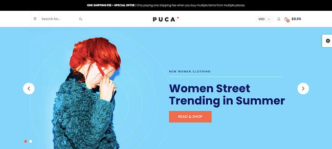 Fashion homepage demo of responsive ecommerce theme Puca