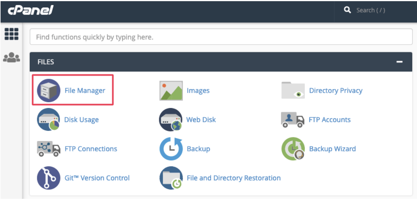 File Manager to backup WordPress site using cPanel