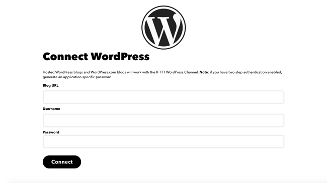 Fill in WordPress login info to set up applet to automatically post to Facebook from WordPress
