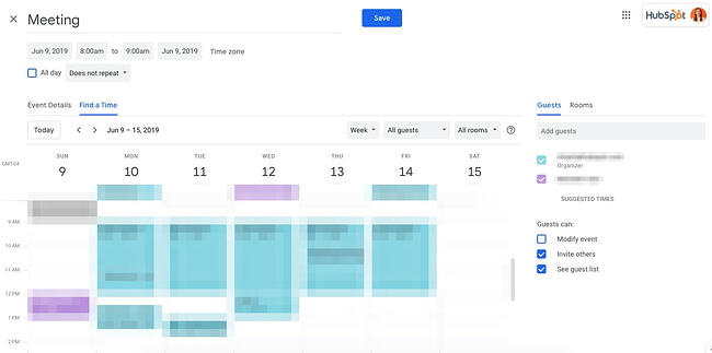 Find a time feature in Google Calendar in the editable event option