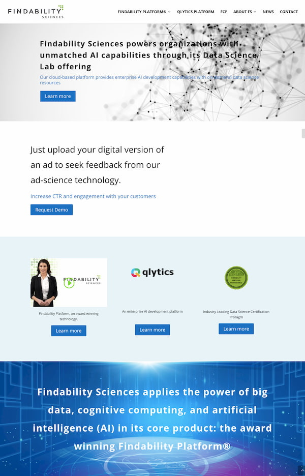 Findability Science website built with Divi theme