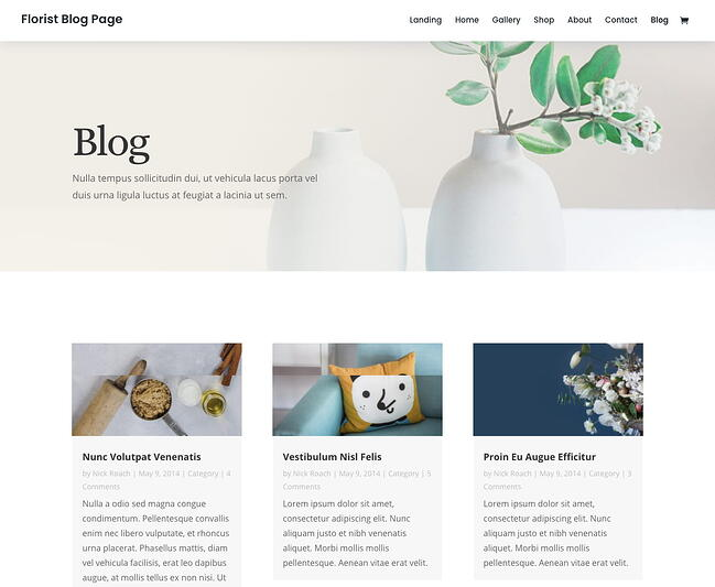 Floral blog layout of Divi theme that could be used to set up an affiliate blog in the florist business niche