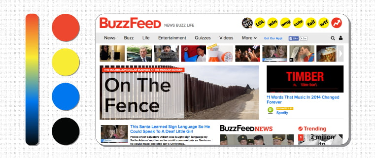 Following website design best practices, Buzzfeed color palette evokes excitement and trust