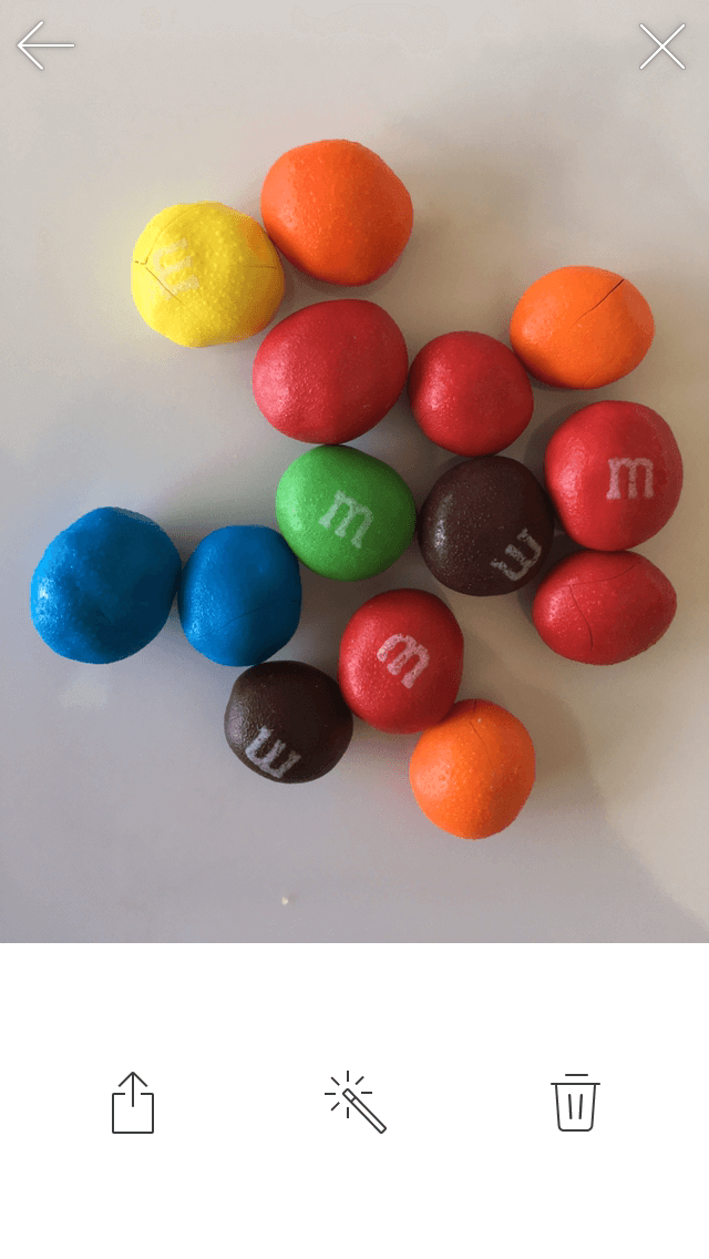 M&Ms before being edited on Foodie photo editing app