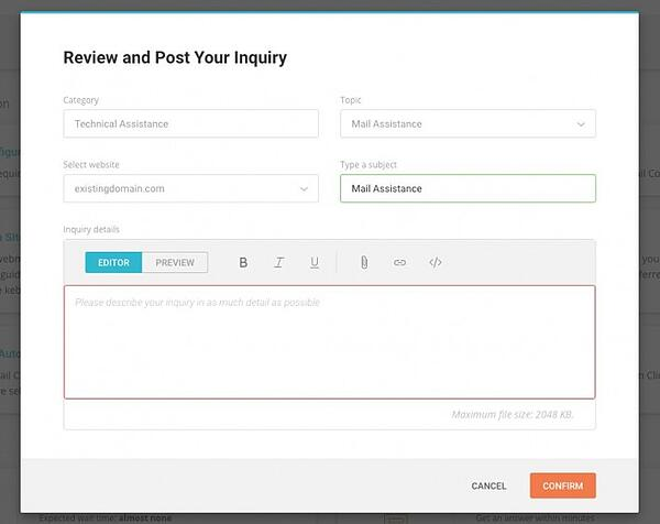 Form to submit a customer service ticket in SiteGround