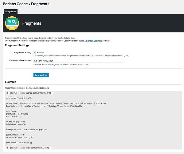 Fragment caching feature in Borlabs Cache plugins settings