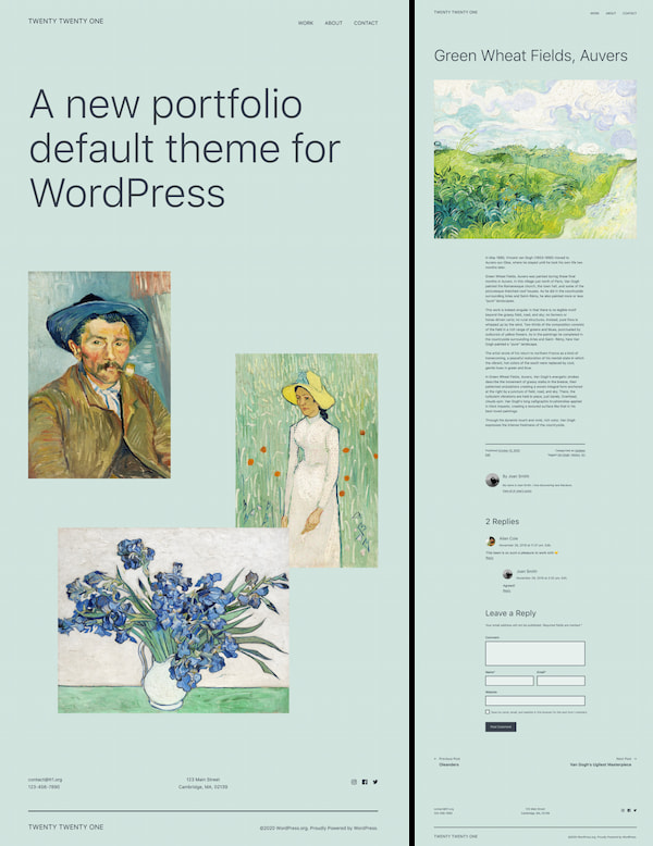 Free Twenty Twenty-One WordPress theme demo designed to look like blank canvas for the Gutenberg editor