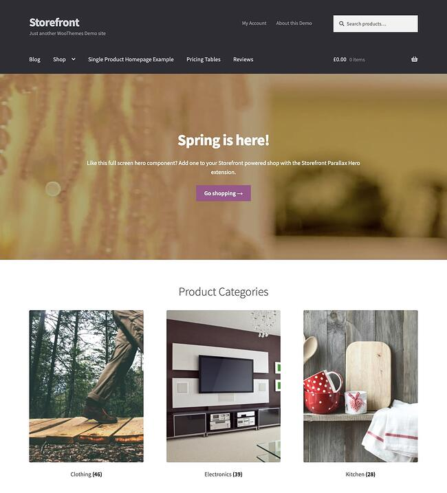 Free WordPress ecommerce theme Storefront demo features video background and categories