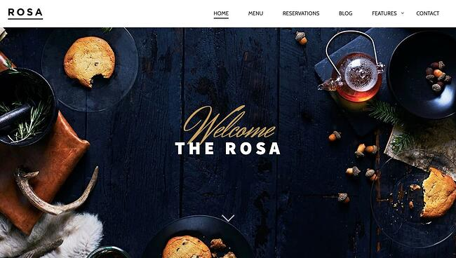 Free parallax theme Rosa Lite features image slider of restaurant table