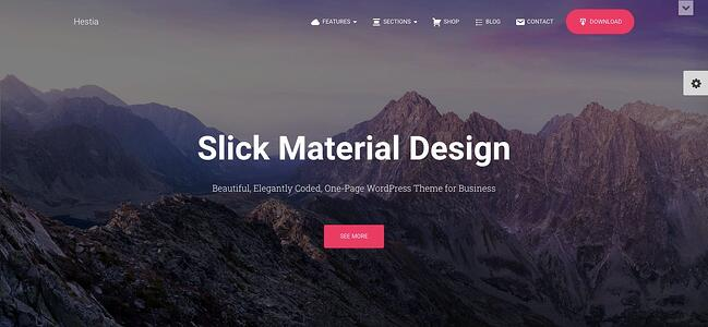 Free responsive Hestia theme demo includes parallax and ecommerce shop sections