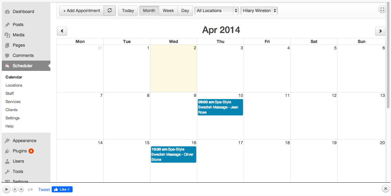 Front-end visitor viewing calendar availably via BirchPress Scheduler