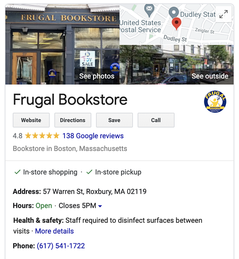 Frugal Bookstore Google My Business