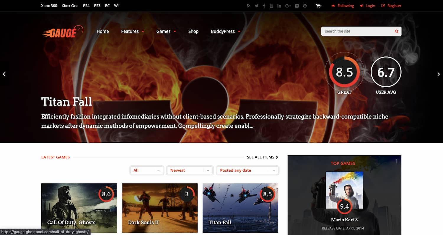 Gauge theme demo shows gaming review site for WordPress