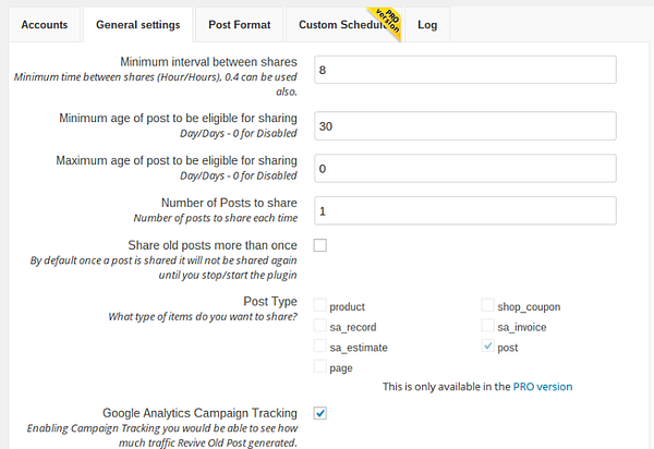 Use the PRO version of Revive Old Posts to share your content on multiple social media accounts