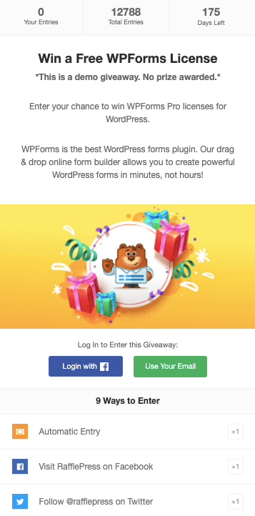 Giveaway example created with Rafflepress plugin for WooCommerce