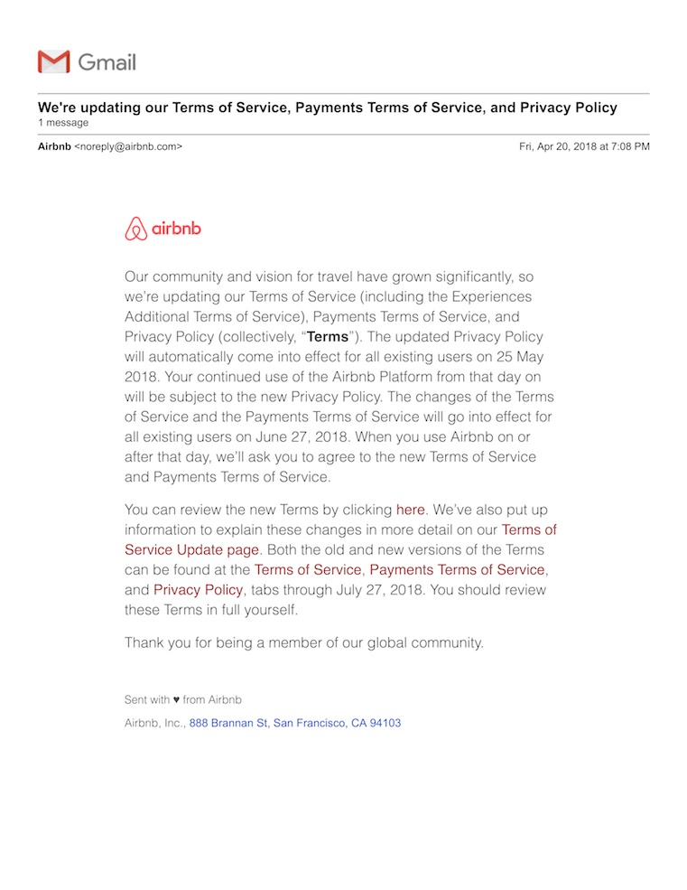 Airbnb email updating privacy policies related to the GDPR