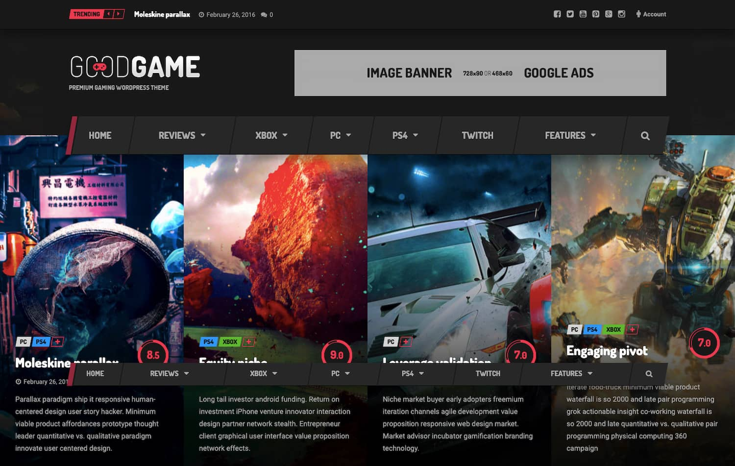 Goodgame theme demo shows gaming review site for WordPress