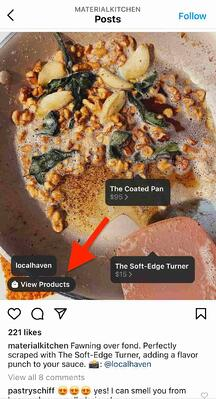 Example of Material Kitchen selling on Instagram with product tags