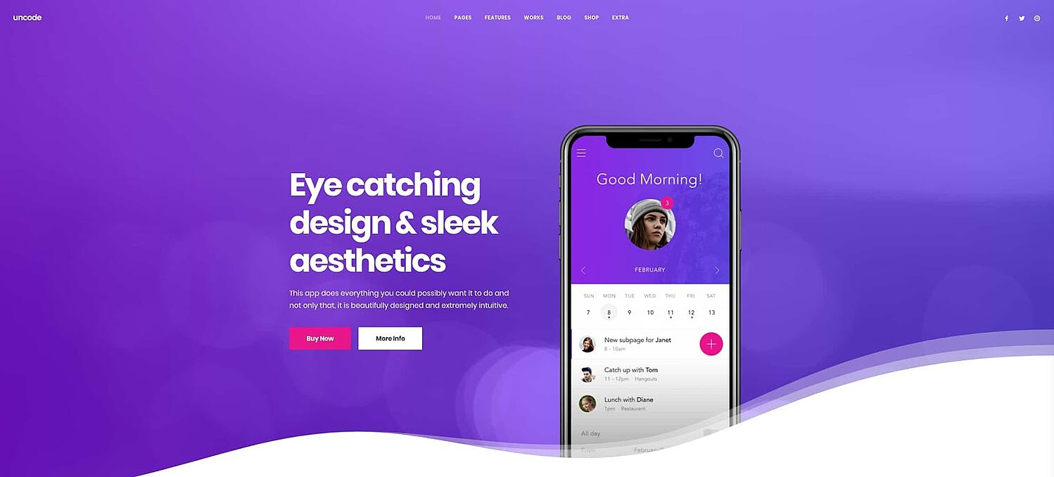 product page for the GDPR-compliant wordpress theme Uncode