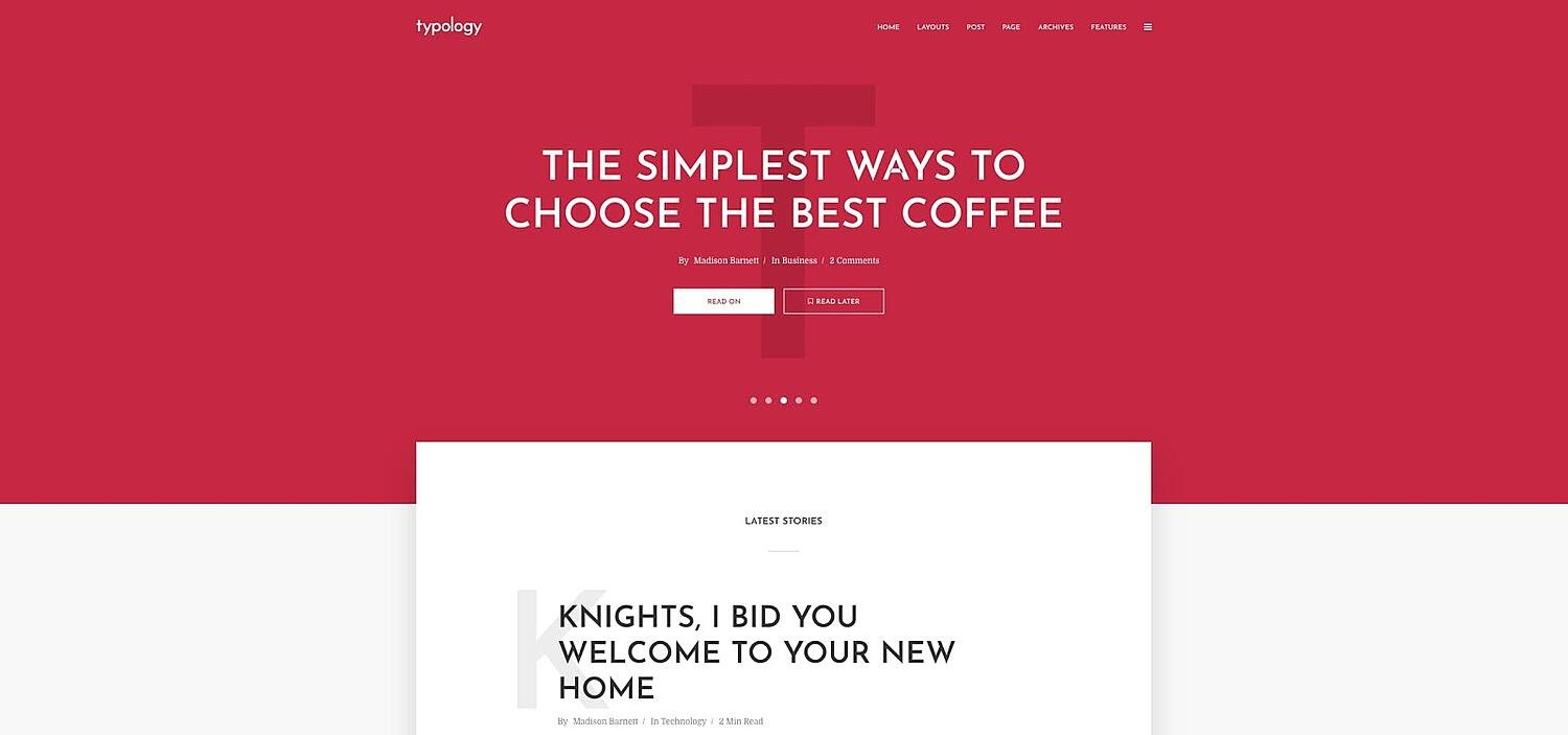 product page for the GDPR-compliant wordpress theme Typology