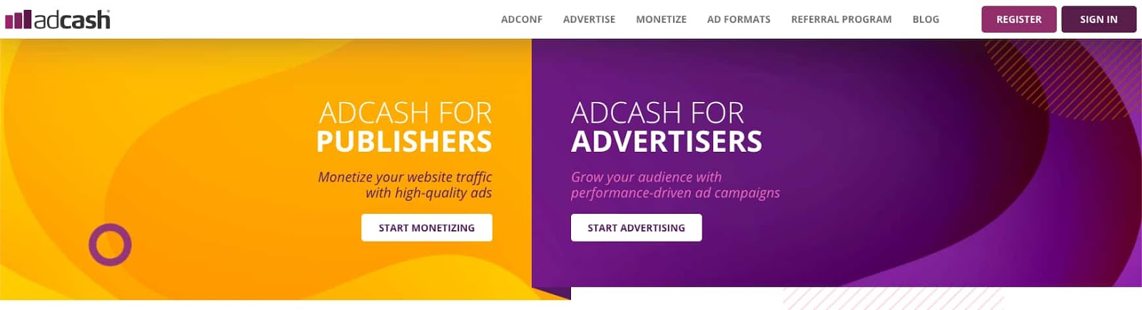 the homepage for the AdSense alternative AdCash