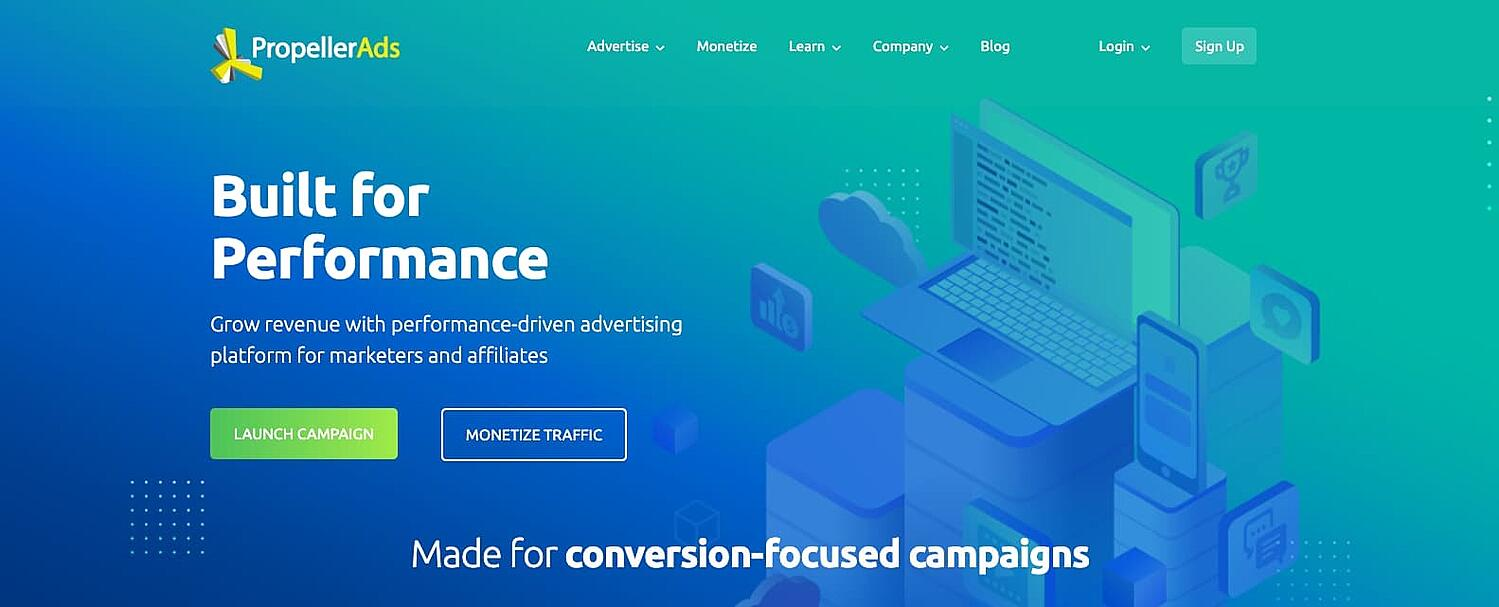 the homepage for the AdSense alternative PropellerAds