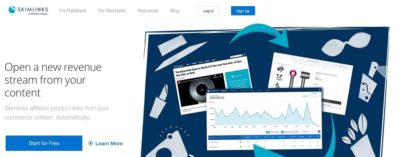 the homepage for the AdSense alternative Skimlinks