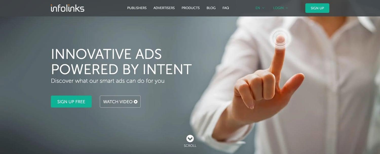 the homepage for the AdSense alternative Infolinks