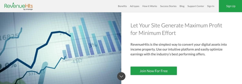 the homepage for the AdSense alternative RevenueHits