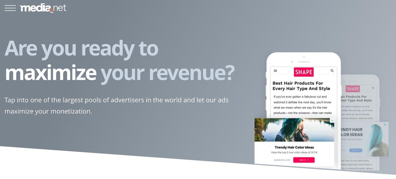 the homepage for the AdSense alternative Media.net