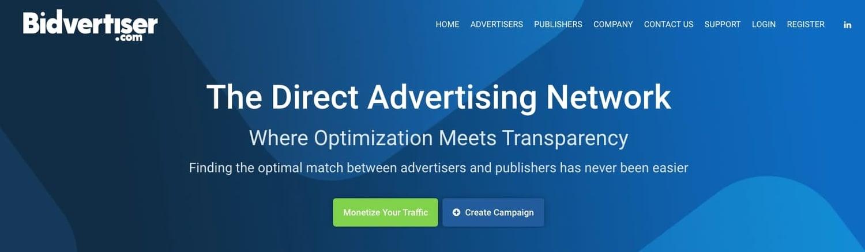 the homepage for the AdSense alternative Bidvertiser