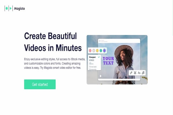 Magisto video editing software landing page