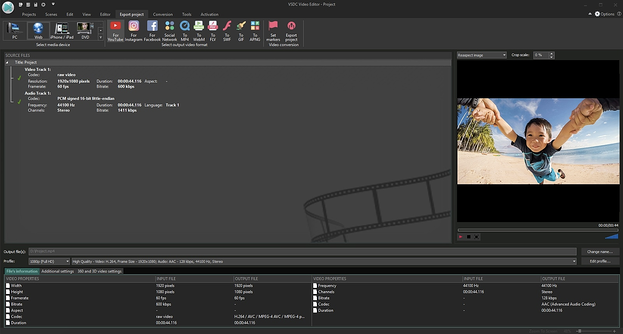 VSDA video editing software used on recording