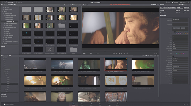 DaVinci video editing software used on film scenes