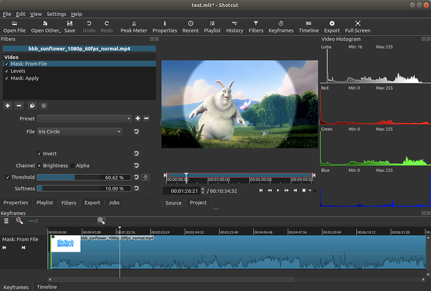 Shotcut video editing software mask file