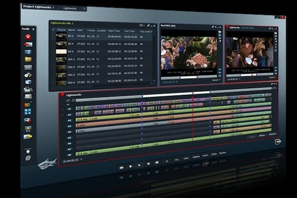 LightWorks video editing software showing layered audio files