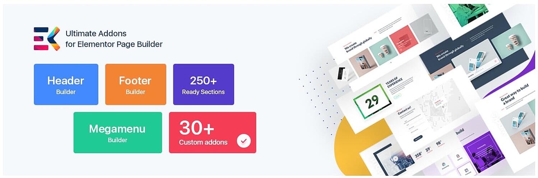 product page for the wordpress mega menu plugin ElementsKit