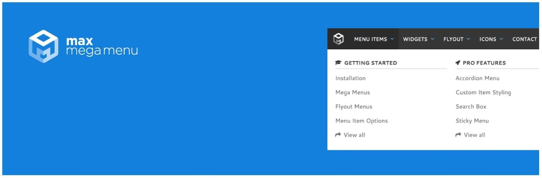 product page for the wordpress mega menu plugin max mega menu