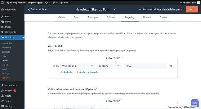 WordPress Newsletter Sign up: Target urls for signup form to appear