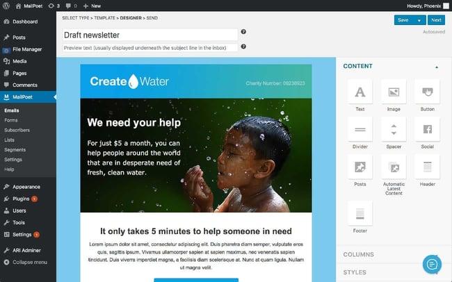 WordPress newsletter plugin: MailPoet
