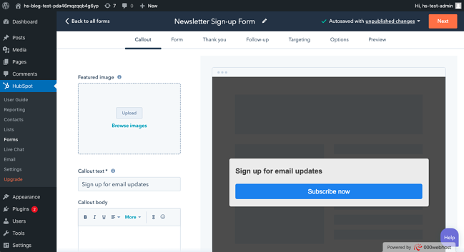 WordPress Newsletter Sign up: Callout text