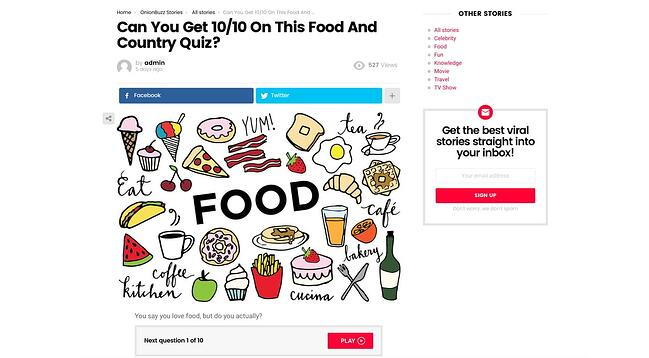Food quiz created with Viral Quiz Maker plugin for WordPress