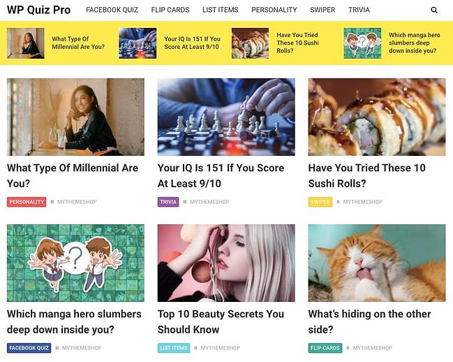 Viral Quiz website created with WP Quiz plugin by MyThemeShop