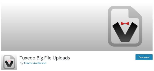 download page for the wordpresss file upload plugin tuxedo big file uploads