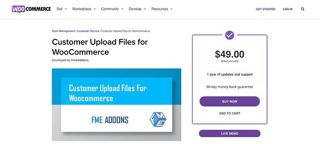 download page for the wordpresss file upload plugin customer upload files for woocommerce